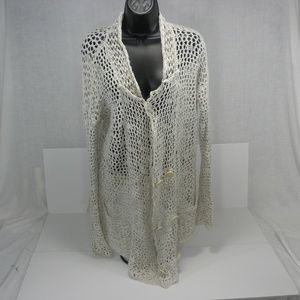 Free People XS Cover Up Fish Net Linen Cardigan